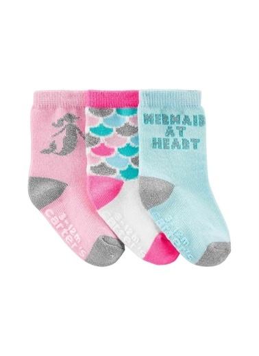 Carters Carter'S Deniz Kızı Desenli 3'Lü Bebek Çorabı Pembe